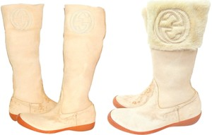Gucci Leather Nubuck Cuffed Cuff Beige Boots
