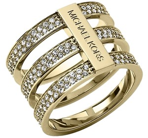 Michael Kors NEW WITH TAGS Michael Kors Pav Triple Tri Stack Gold Tone Ring Size 8