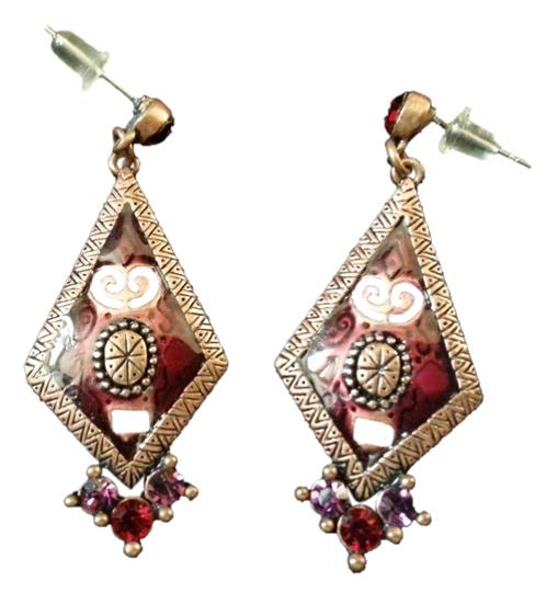 Other Maroon Colored Diamond Shaped Earrings