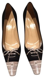 Chanel Vintage Exclusive Black Kid Suede with Snake Tips Pumps