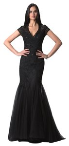 Feriani Couture Black Sequance Gown Evening Green Size 12 Dress