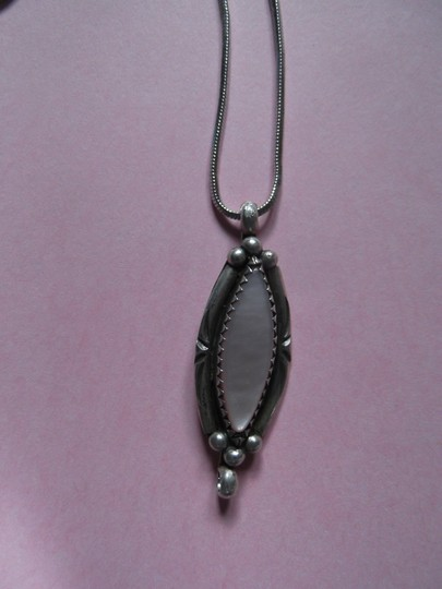 Other Beautiful Oval Pink Stone in Sterling Silver Setting Necklace
