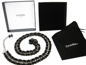 Chanel CHANEL CAMELLIA BELT SILVER CHAIN RIBBON BLACK ENAMEL CC CHARM LOGO DUST BAG BOX