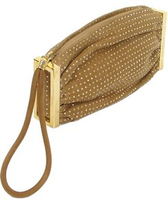 Brian Atwood Studded Hardware Wristlet in Brown and Gold