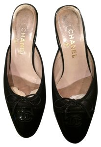 Chanel Black Leather with Black Patent Toe & Heel Mules