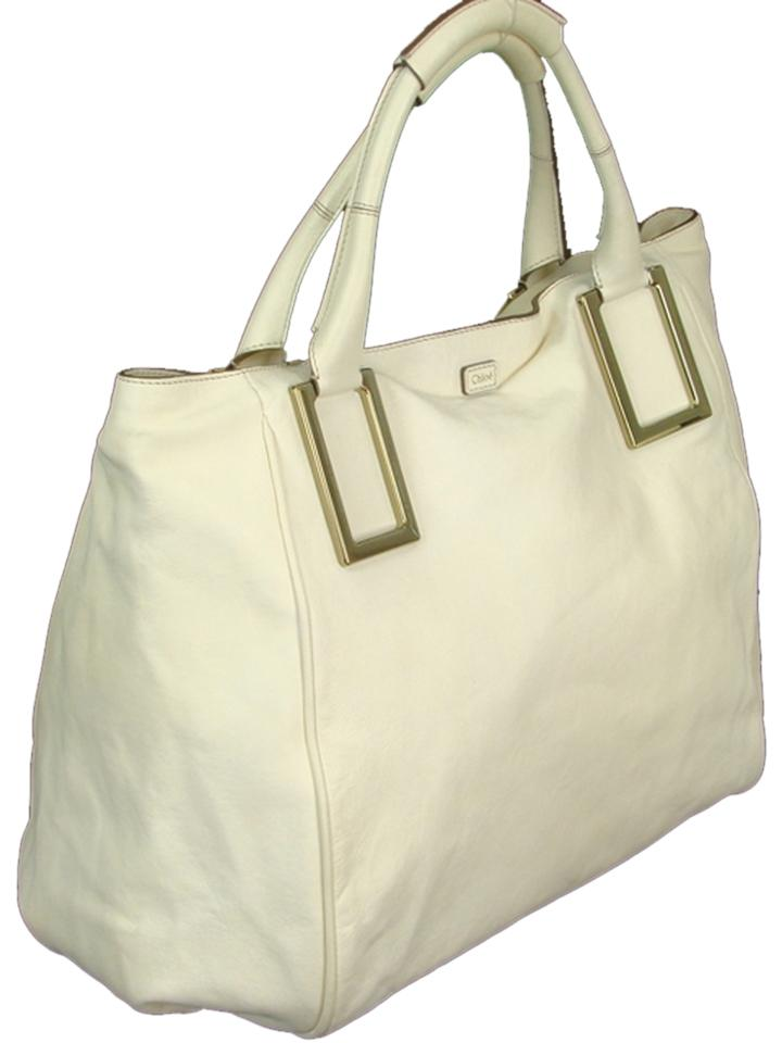 8d4661832523 Chloé Leather Gold Hardware Tote in Ivory ... cheap for discount 154b5  8b590 ...