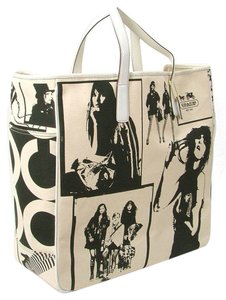 Coach Print Spring Canvas Snakeskin Tote in Black, Ivory
