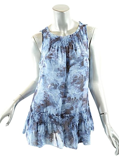 Preload https://img-static.tradesy.com/item/9190084/theory-navy-blue-navyblue-very-fine-silk-abstract-floral-print-shirred-tank-blouse-size-8-m-0-1-650-650.jpg