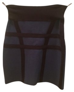Hervé Leger Sexy Mini Skirt Blue and Black