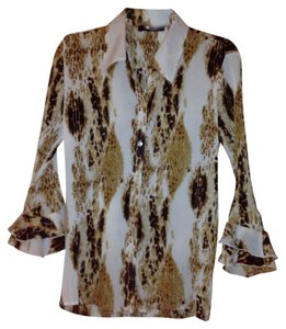 Essentials by Milano Top Cream with brown & black