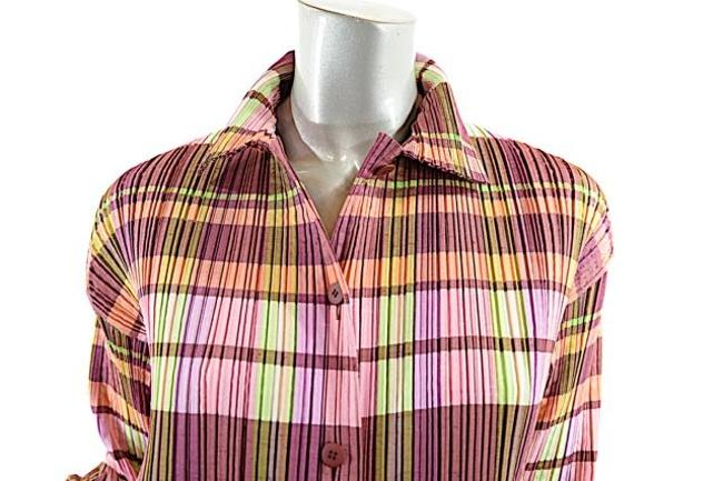 Issey Miyake Signature Pleats Top plum, pink, lavender, green and white