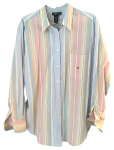 Ralph Lauren Button Down Shirt Striped blue, pink, white