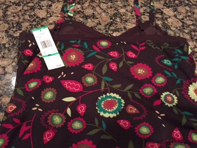 Anne Klein Top BROWN WITH FLOWERS