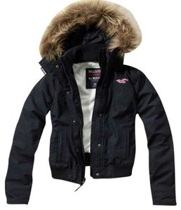 Hollister Water-resistant Faux Fur Navy Blue Jacket