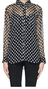 Elizabeth and James Top Black with white polka dots