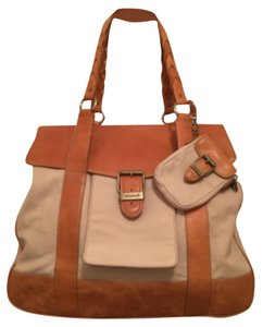 Eddie Bauer Cotton Canvas Leather Tote New/nwt Men's Cream Tan Travel Bag