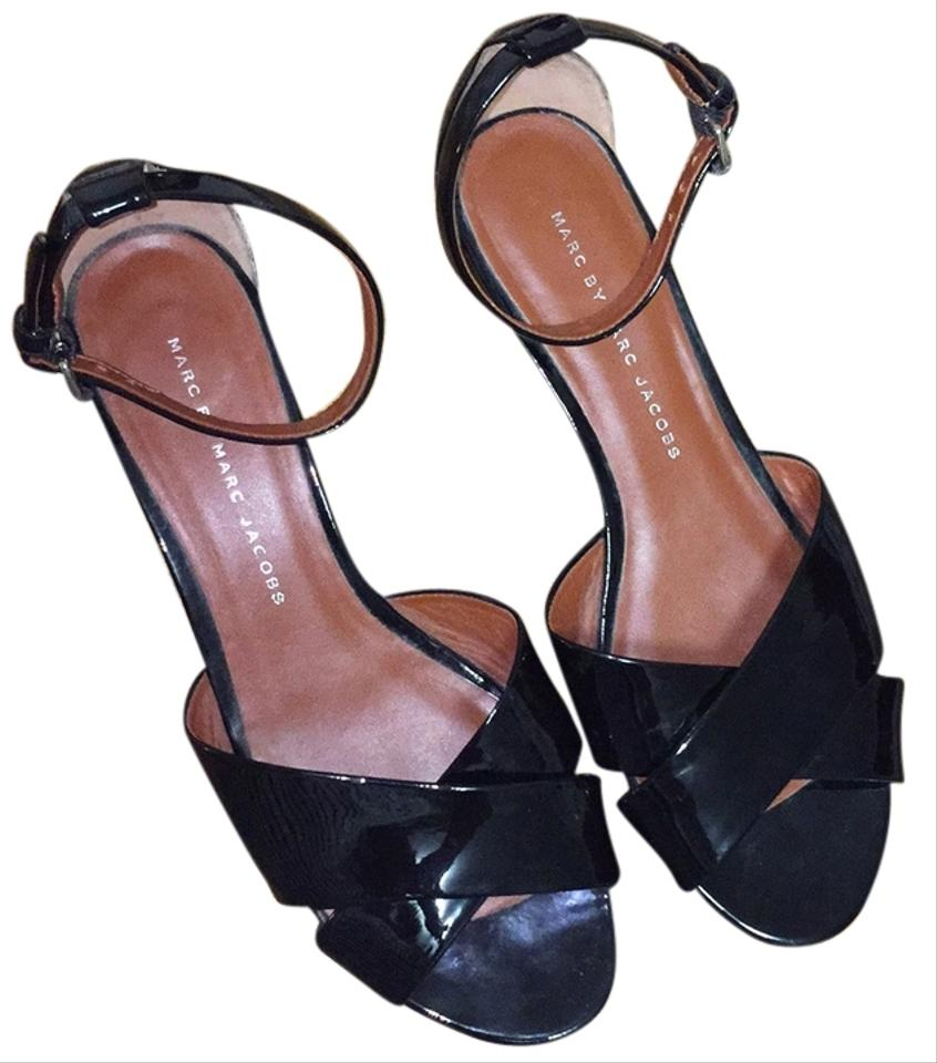 033889dc605 Marc by Marc Jacobs Black Patent Strappy Wedge Sandals Size US 7.5 ...
