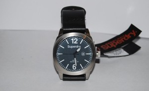 Super Dry Superdry Mens Black Leather Quartz Analog Syg103tw Watch