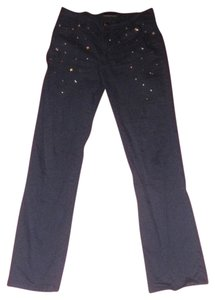 Roccobarocco Straight With Silver Stars Attached Size 29/30 Mint Rare Boot Cut Jeans-Dark Rinse