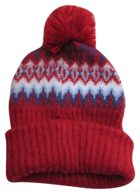 Item - Red Print Beanie Hat