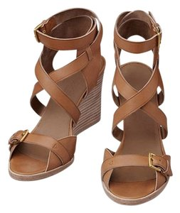 Hermès Desinger Leather Sandals Gold Wedges