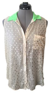 Lush Sleeveless Button Down Shirt Sheer with gold polka dots and neon green collar
