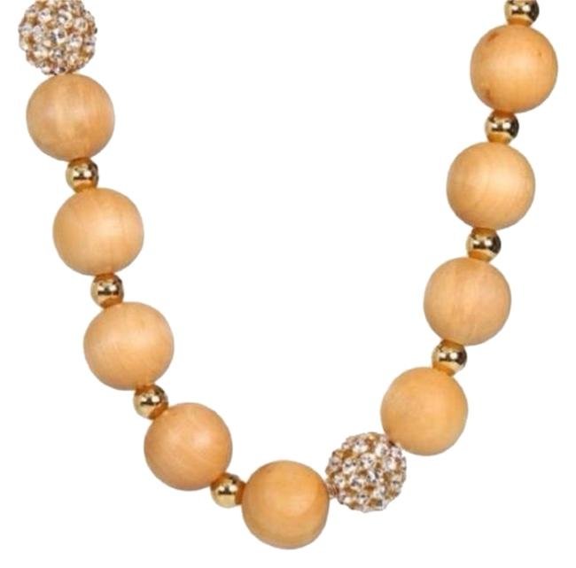 """Kate Spade Pave Crystals & Wood New York You Be Mine"""" Long Wooden Beaded 32"""" Brown Necklace Kate Spade Pave Crystals & Wood New York You Be Mine"""" Long Wooden Beaded 32"""" Brown Necklace Image 1"""