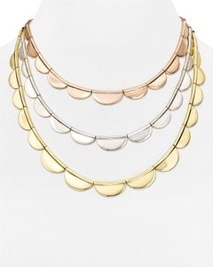 Kate Spade Perfect Tiers of Tri-Color Gold & Silver Scallops! Kate Spade Sweetheart Scallop Necklace NWT Modern Twist of Classic Three Strands!