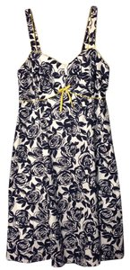 R&K Originals short dress Navy Rose/Floral Print w Yellow Piping 18w WITH Matching Jacket/Shrug on Tradesy