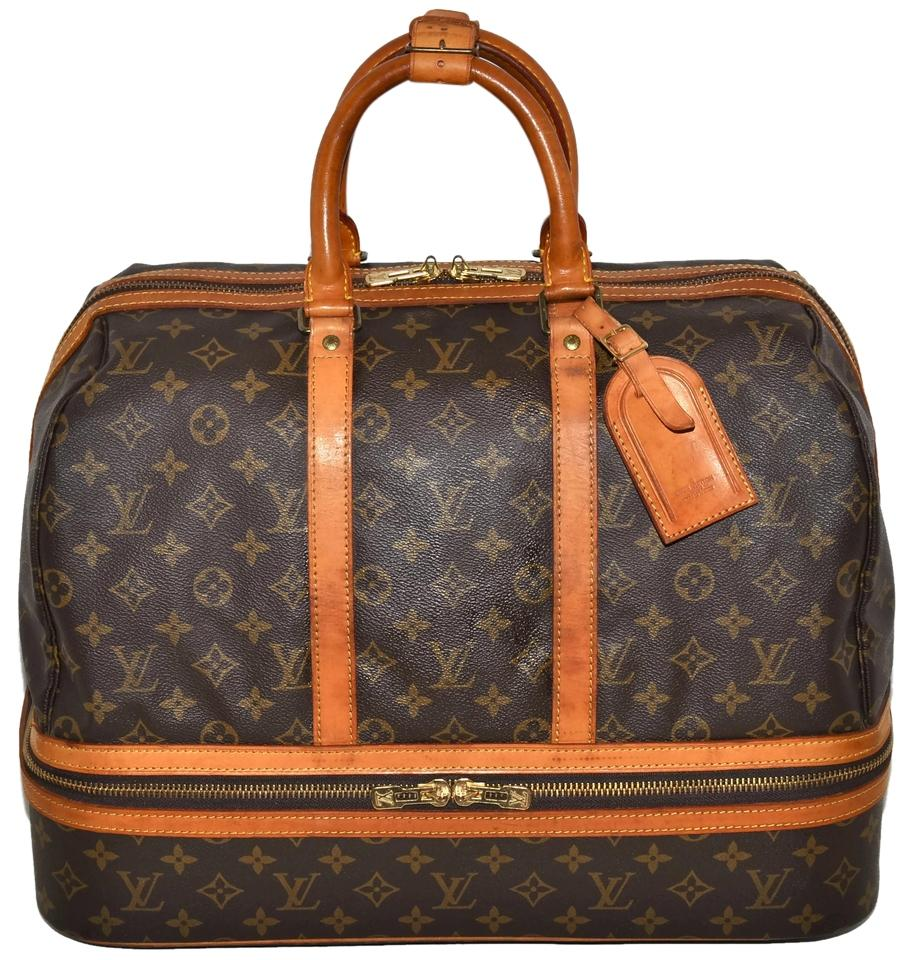 b509380a058a Louis Vuitton Duffle Sac Sport Monogram Carry On Luggage Suitcase Very Rare  Made In France Brown Leather   Coated Canvas Weekend Travel Bag