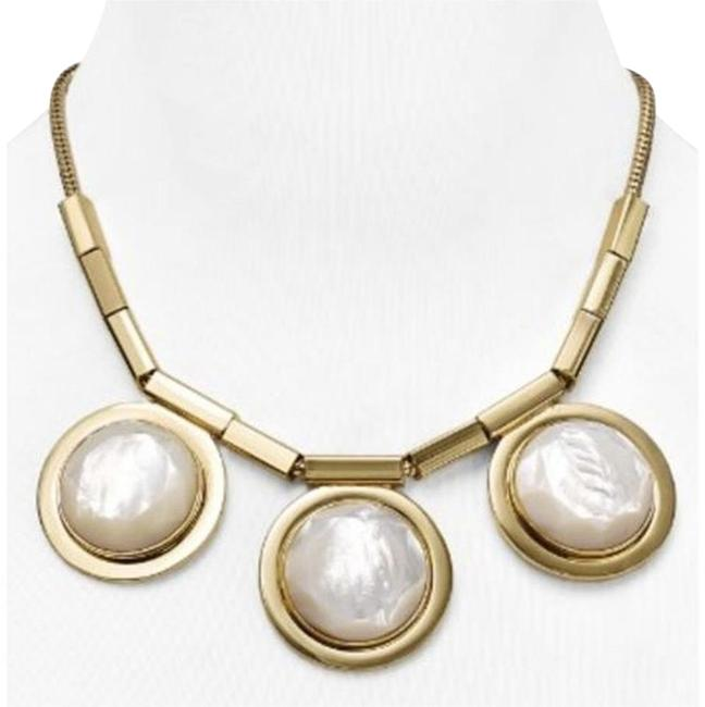 Kate Spade 12k Gold & Mother Of Pearl Modern Flare with Impeccable Style Polish Up Reminiscent Cruise Ship Port Holes Necklace Kate Spade 12k Gold & Mother Of Pearl Modern Flare with Impeccable Style Polish Up Reminiscent Cruise Ship Port Holes Necklace Image 1