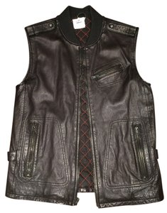 Juicy Couture Leather Moto Bomber Vest