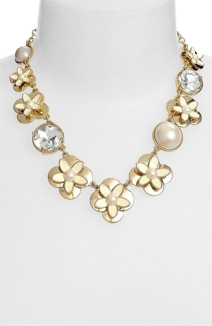 Kate Spade 12k Gold & Pearl & Crystal Modern Update On Flower Strands Window Seat Large Single Strand Of Sweet Flowers In The Stunning Necklace Kate Spade 12k Gold & Pearl & Crystal Modern Update On Flower Strands Window Seat Large Single Strand Of Sweet Flowers In The Stunning Necklace Image 1