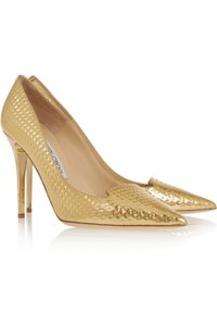 Jimmy Choo Nib Jimmy Choo Eu38.5 Us8.5 Avril Embossed Metallic Gold Pointed Toe Pump Wedding Shoes