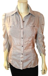Papaya Size Large P1874 Button Down Shirt gray
