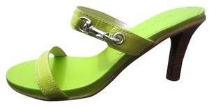 Coach Rare New Hardware Buckle Lime Green Silver Tan Sandals