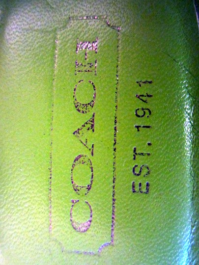 Coach Hardware Buckle Lime Green Silver Tan Sandals