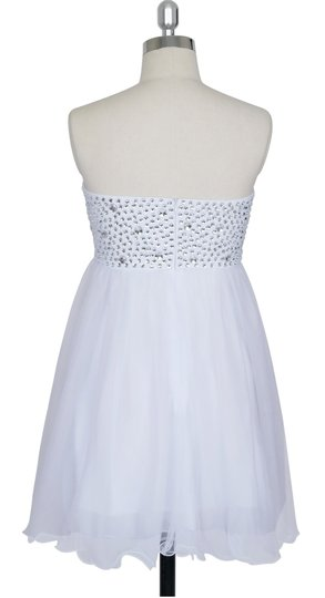 White Chiffon Crystal Beads Bodice Sweetheart Short Retro Bridesmaid/Mob Dress Size 14 (L)
