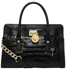 Michael Kors Satchel in black/dark brown/ gold