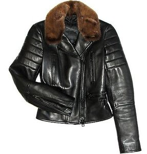 Burberry Prorsum Leather Mink Motorcycle Jacket