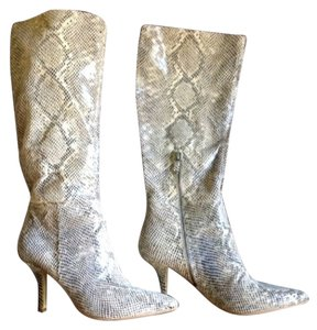 B. Makowsky Pointy Scruchy Natural Snake embossed Leather Boots