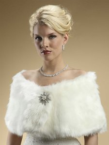 Ivory Faux Fox Fur Wedding Stole Wrap