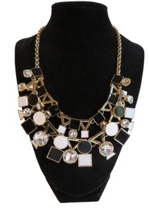 "Kate Spade New Kate Spade Statement Necklace Gold Tone Black White Clear 17""-20"""