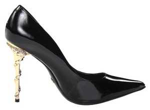 SCHUTZ Patent Leather Snake Black & Gold Pumps