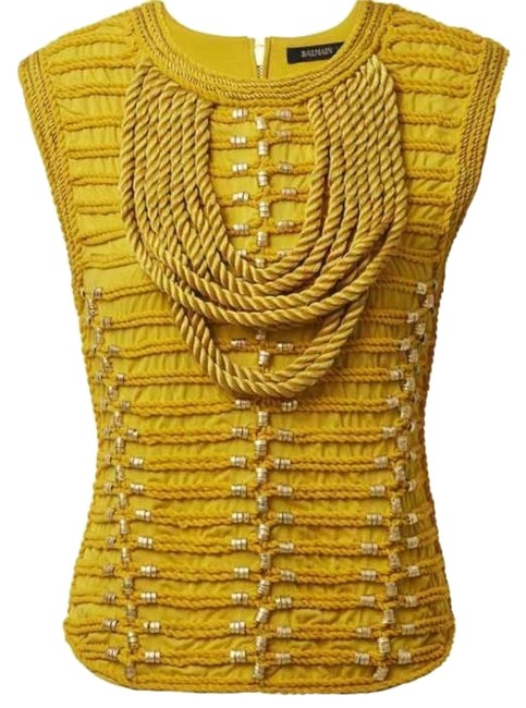 Item - Shirt with Braided Embroidery Yellow Top
