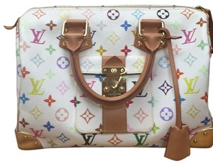 Louis Vuitton Handbag Leather Classic Limited Vintage Classic Vintage Leather Monogram Monogram Satchel in White/ Multicolor