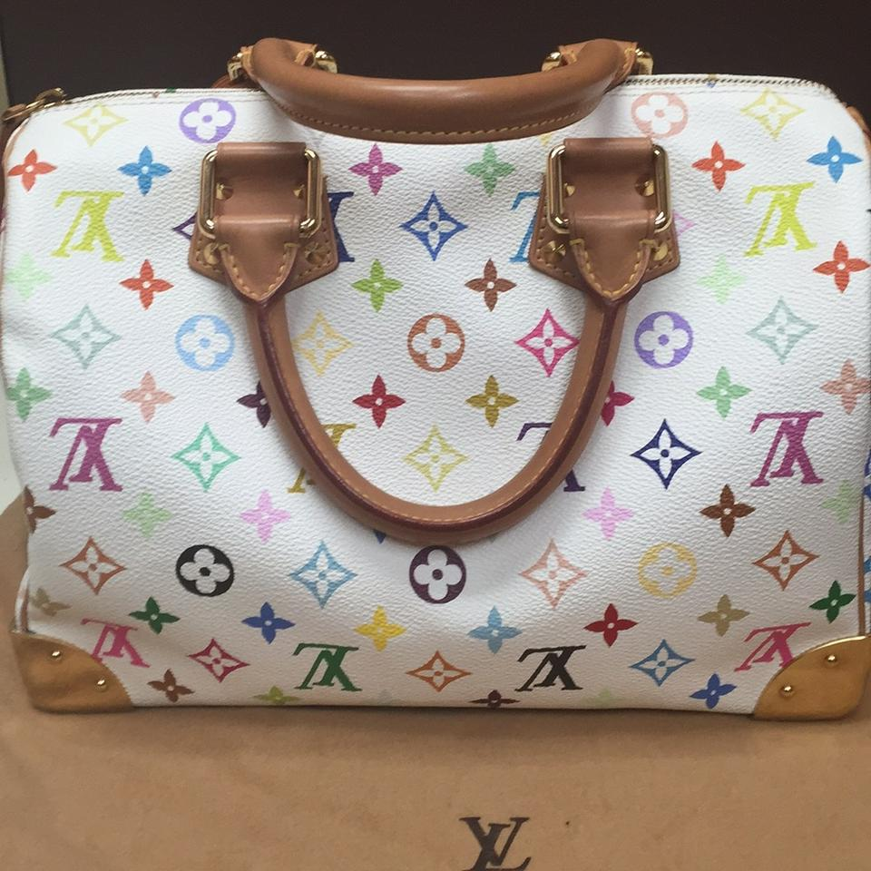 1cc8dca93 Louis Vuitton Speedy Monogram 30 Limited Edition White/ Multicolor Leather  Satchel - Tradesy