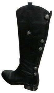 Arturo Chiang Riding Leather Silver Button Detail black Boots