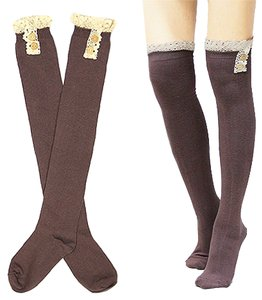 Cute Buttoned Lace Top Cotton Knee High Boot Socks Stocking