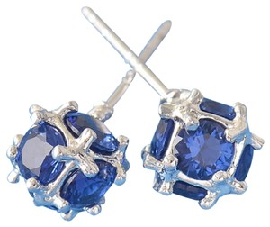 14K White Gold Filled Blue Cubic Zirconia Stud Earrings Small J1557